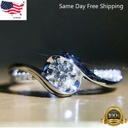 Women Fashion 925 Silver Rings White Sapphire Wedding Ring Gift Size 6 10