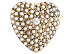 Antique 0.07ct Diamond And Seed Pearl, 14k Yellow Gold Heart Brooch 1900s