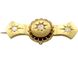 Antique Victorian 0.38ct Old Cut Diamond And 15k Yellow Gold Brooch