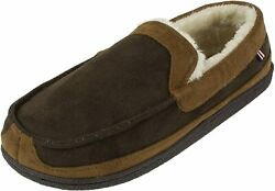 Izod Menand039s Classic Two-tone Moccasin Slipper Winter Warm Slippers With Memory F