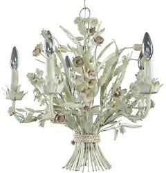Vintage Chandelier French Country Flowers 5-light 5-arm White Metal Tole