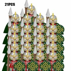 21 Castle Royal Kings Knight Rome Medieval Soldiers Lion Figures Blocks Toy Kids