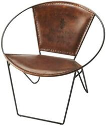 Occasional Chair Modern Contemporary Distressed Brown Leather Wrought Iron