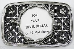 Coin Belt Buckles Silver Dollar Silver Black Rectangle Screw Mount Western New