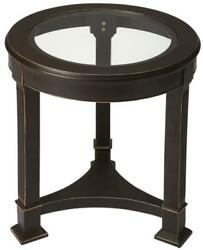 End Table Side Traditional Antique Black Clear Distressed Metalworks Gold C