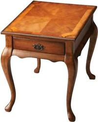 End Table Queen Anne Antique Brass Distressed Olive Ash Burl Cherry Maple