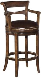 Counter Stool Solid Hardwood Chocolate Leather Swivel Scrolled Arms