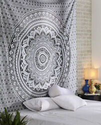 Flower Mandala Queen Large Tapestry Bedspread White Dorm Decor Wall Hanging New