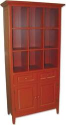 Trade Winds China Cabinet Traditional Antique Red Painted Mahogany Frame