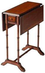 Side Table Antique Brass Distressed Umber Brown/beige/tan Rubberwood Cherry 1