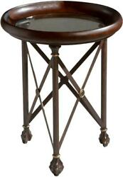 Tray Table Metalworks Faux Leather Distressed Aluminum Metal Alloy Temp