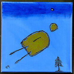 20112606 E9art 8x8 Abstract Figurative Outsider Childlike Flying Art Painting