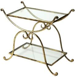Cart Distressed Metalworks Tempered Glass Iron Bronze