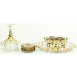 Antique Moser Bohemian Jeweled, Enameled And Gilt Painted Cordial Liquor Set