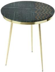 Accent Table Contemporary Green Brass Metalworks Distressed Iron Metal Inl