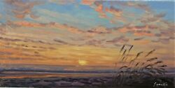 Sean Wu original oil painting 10x20 on stretched canvas beach sunrise $49.00