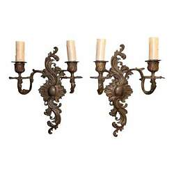19th Century French Rococo Cast Bronze 2 Arm Sconces - A Pair