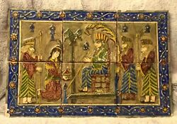 Persian Antique Set Of 6 Glazed Ceramic Tiles With Royal Cort Scene 21 X 31