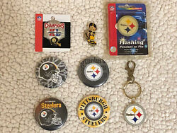 Nfl Pittsburgh Steelers Collector Pins Buttons And Keychain Lot Of 8