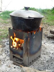 Portable Stove Wood Camping Fishing Low Carbon Steel 1 Mm Folding Picnic Video