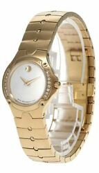 New Movado Sport Edition White Mop Dial Diamond Gold Womenand039s Watch 0604840