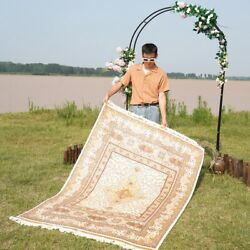 Yilong 4.5and039x6.5and039 Golden Handmade Carpet Dining Room Hand Knotted Silk Rug Zz055