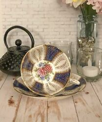 Vintage Paragon Blue And Gold With Pink Floral Teacup And Saucer