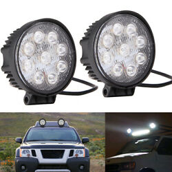 2pcs 27w 12v Led Car Work Light Round Flood Offroad Driving Lamp Jeep Truck Boat