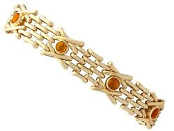 3.15 Ct Citrine And 9 Ct Yellow Gold Gate Bracelet - Antique And Vintage