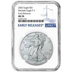 2021 1 Type 1 American Silver Eagle Ngc Ms70 Blue Er Label