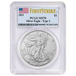 2021 1 Type 1 American Silver Eagle Pcgs Ms70 Fs Flag Label