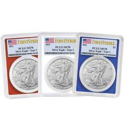 2021 1 Type 1 American Silver Eagle 3pc. Set Pcgs Ms70 Fs Flag Label Red White