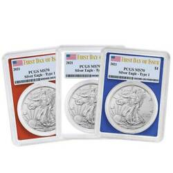 2021 1 Type 1 American Silver Eagle 3pc. Set Pcgs Ms70 Fdoi Flag Label Red Whit