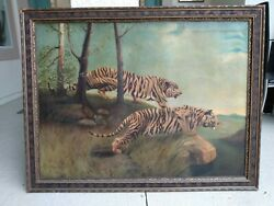 Original Large 1930s Oil Painting - Two Tigers -on The Lookout- Clarence Barnard