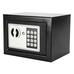 Electronic Password Safe Box Black High Security Home Use Valuables Cash Box