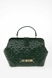 MOSCHINO women Handbags LOVE Quilted NEW SHINY Bag Green $205.92