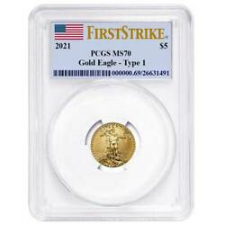 2021 5 Type 1 American Gold Eagle 1/10 Oz. Pcgs Ms70 First Strike Flag Label