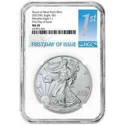 2021 W 1 Type 1 American Silver Eagle Ngc Ms70 Fdi First Label