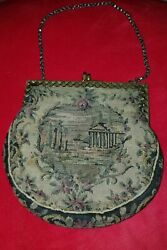 Vintage 1800and039s Antique Greek Tapestry Embroidered Parthenon Victorian Purse Bag