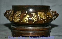 10 Old China Purple Copper Palace 12 Zodiac Year Lion Incense Burners Censer