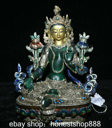 8.8 Nepal Shell Silver Gold Turquoise Coral Temple Green Tara Goddess Sculpture
