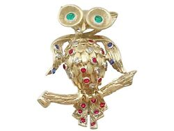 Vintage Ruby Sapphire Emerald And Diamond, 18k Yellow Gold 'owl' Brooch 1960s