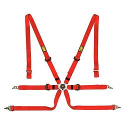 6-point Saloon Safety Harness Set In Polyester W Pull Down Ergal Adjuster Red