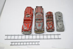 Lot Of 4 Vintage Hubley Fire Trucks 468 And 463 Diecast Metal Toy Cars Ladders