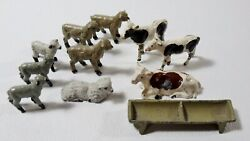 Lot Of 11 Antique Lead Toy Farm Animals Sheep/cows/trough
