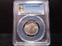 1920 Ms65fh Full Head Standing Liberty Quarter Pcgs Certified Gem/bright/gold