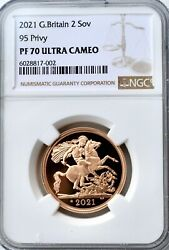 2021 Gold Proof Double Sovereign Andpound2 Two Pound Ngc Pf70 Great Britain 95 Privy