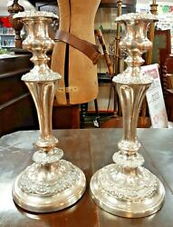 Stunning Pair Of Georgian Sheffield Silver Plate Candlesticks With Lovely Patina