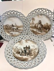 Three In Series, Reticulated Plates With Horses, Riders, Soldiers, Windmills,etc