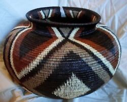 Wounaan Hand Woven Large Brown Black And White Basket -panama 20121309mm